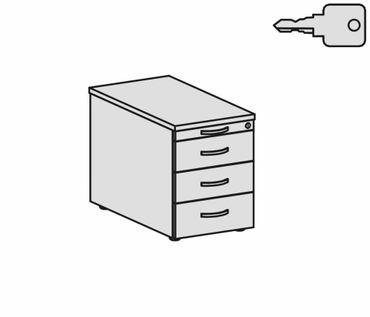 Rollcontainer mit 3 Metall-Schubfächern und Utensilienschubfach, Metall-Rollschubführung, Zentralverriegelung, verdeckte Doppel-Lenkrollen, 438x800x565, Lichtgrau/Lichtgrau – Bild 2