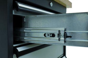Mobile Kastenwerkbank Breite 1300 mm, Höhe 960 mm, inkl. 5 Schubladen und 2 Holzfachböden Breite 600 mm CL605MKW13 – Bild 4
