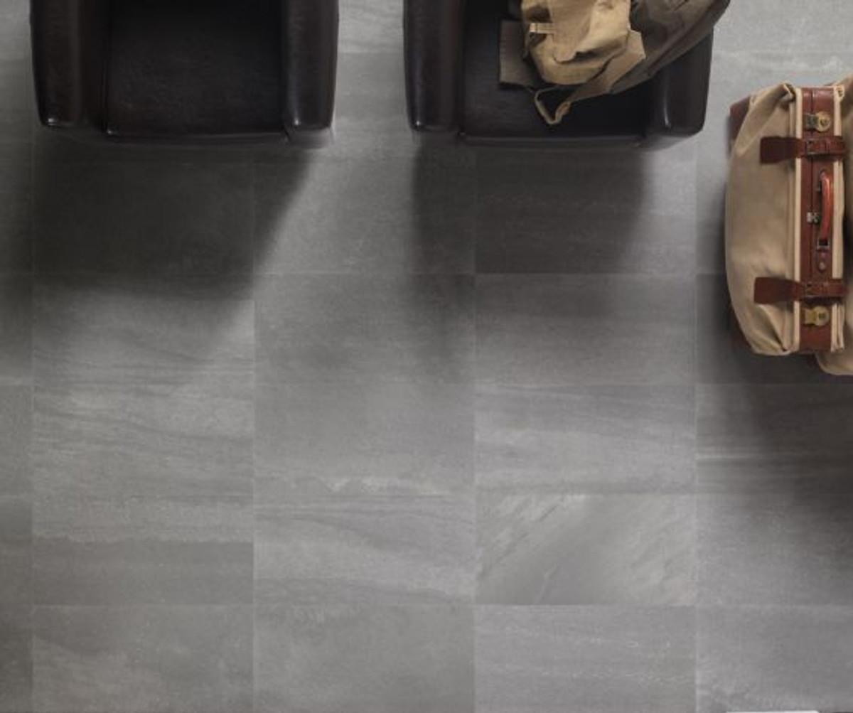 Bodenfliese Gazzini Ink 40 grey 40 x 80 cm rett – Bild 1