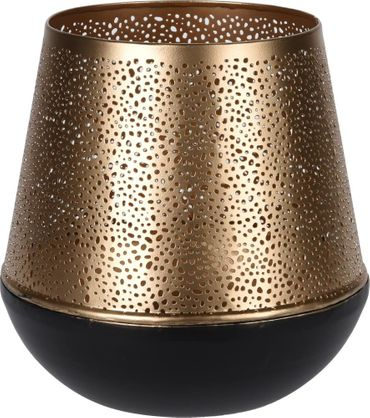 Deko Laterne, Metall, Goldfarbe, Durchbrochenes Kerzenhalter Ø 20 x 20 cm