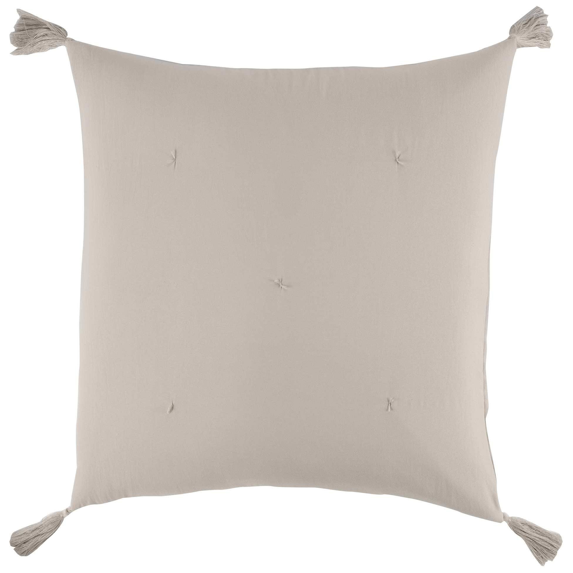 Déco-de-Maison Kissenbezug, 60 x 60 cm, Mikrofaser, mit Dune Pompons -  Douceur d\'intérieur | EMAKO