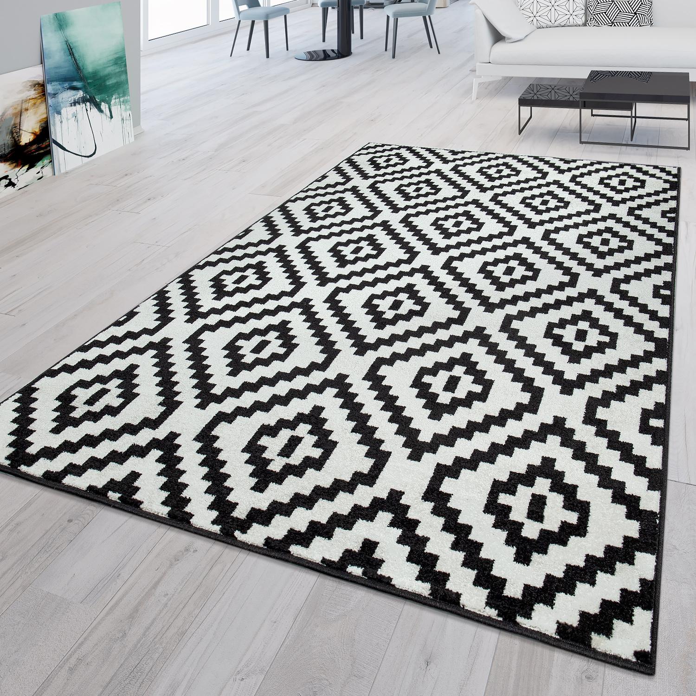 Moderne Teppiche Orientalisch Flachflor Designer Neu Retro Sale Schwarz Weiss