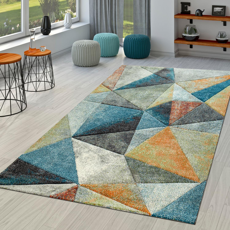 Modern Abstrakt Laufer Schwarz Grau Orange Muster Weich Teppich Schlafzimmer Wohnraum Teppiche Mobel Wohnen