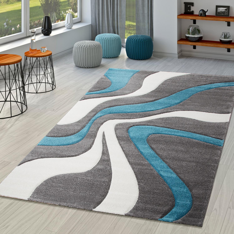 Teppich Türkis Grau Weiß Wohnzimmer Teppiche Modern mit ...