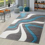 Teppich Türkis Grau Weiß Wohnzimmer Teppiche Modern mit Konturenschnitt