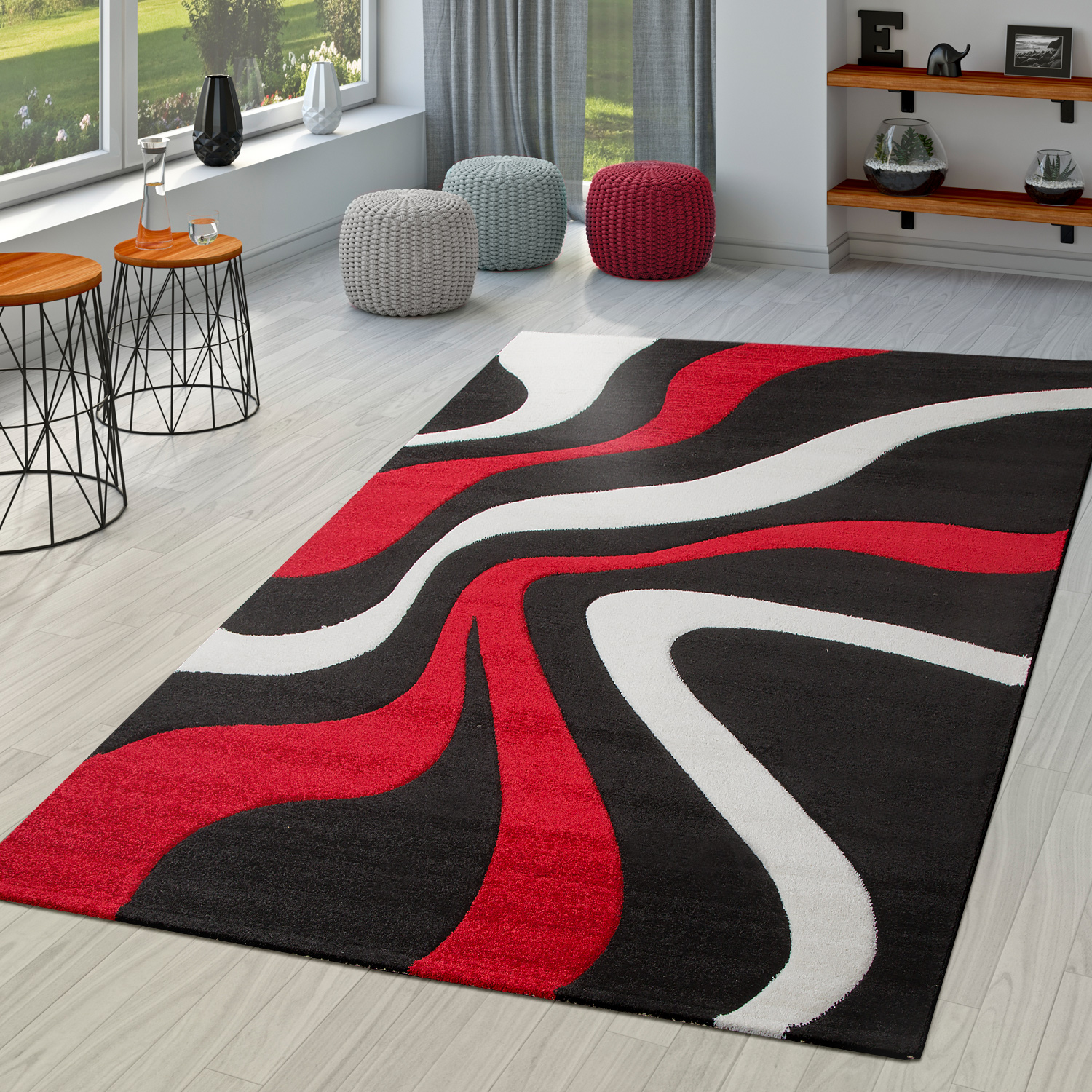 Rug Red Black White Living Room Rugs Modern With Contour Cut Ebay