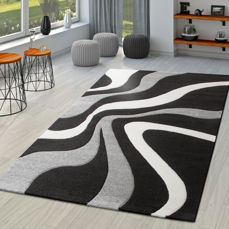 Teppich Schwarz Weiß Wellen Muster