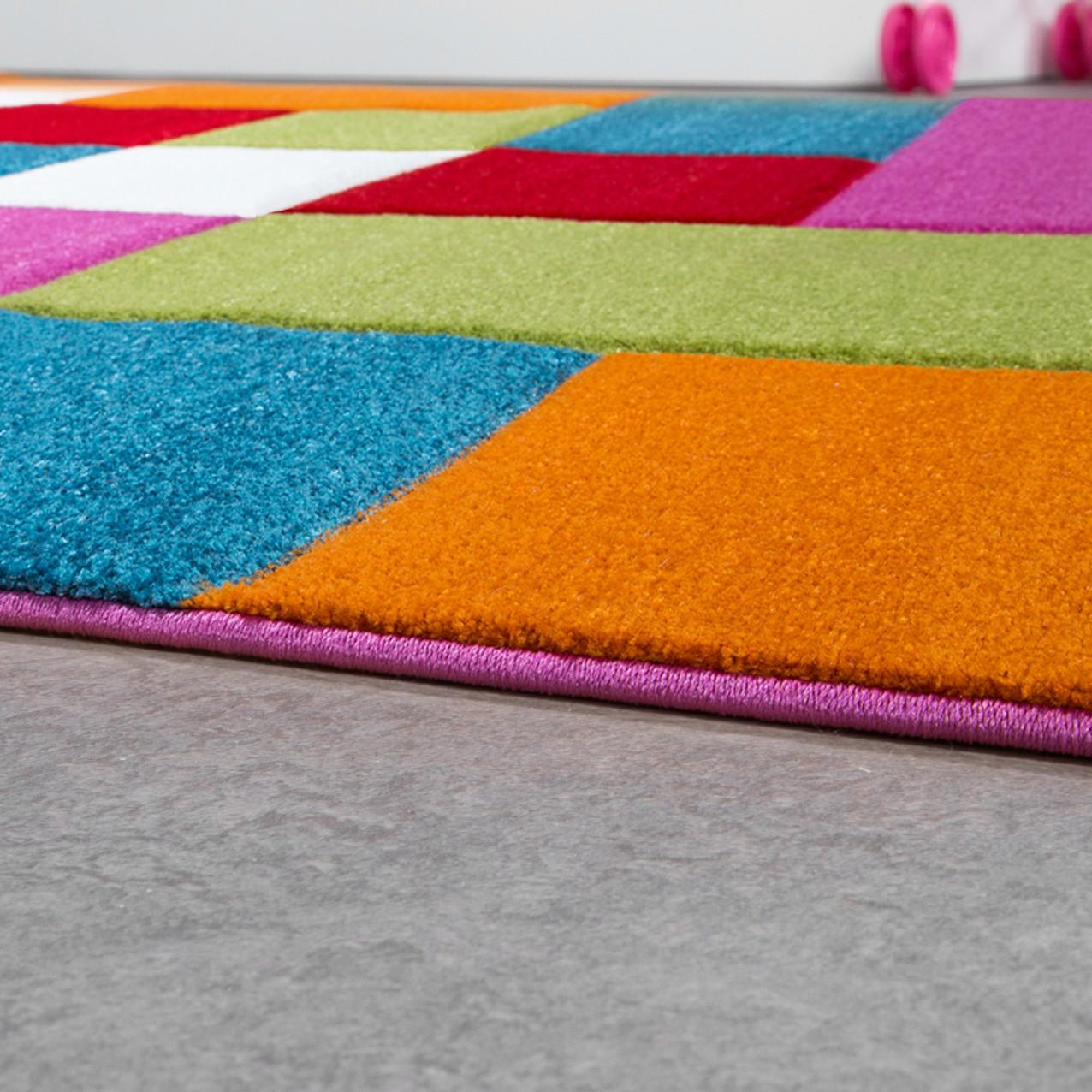kinderzimmer teppich bunt creme gr n pink t rkis multicolour kariert spielzimmer kinderteppich. Black Bedroom Furniture Sets. Home Design Ideas
