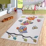 Eulen Teppich Creme Grün Orange Türkis Kinderzimmerteppich mit Konturenschnitt