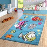 Kinderzimmer Teppich Unterwasserwelt in Türkis Grün Fuchsia Creme