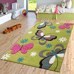 Schmetterling Teppich Grün Grau Fuchsia Creme Kinderzimmer Teppiche Butterfly
