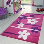Kinderzimmer Teppich In Pink Lila Creme Blumen Muster Kurzflor 001