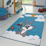 Kinderteppich in Creme Türkis Niedlicher Baby Hase Kurzflor Teppich