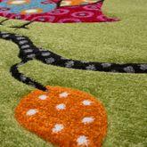 Eulen Teppich Grün Pink Creme Kinderzimmerteppich mit Konturenschnitt – Bild 2