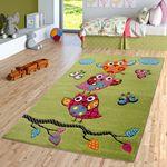 Eulen Teppich Grün Pink Creme Kinderzimmerteppich mit Konturenschnitt 001