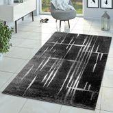 Moderner Wohnzimmer Teppich Matrix Design Kurzflor Meliert Grau Anthrazit Creme – Bild 1