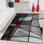 Teppiche Wohnzimmer Teppich Porto mit Konturenschnitt in Grau Rot Schwarz