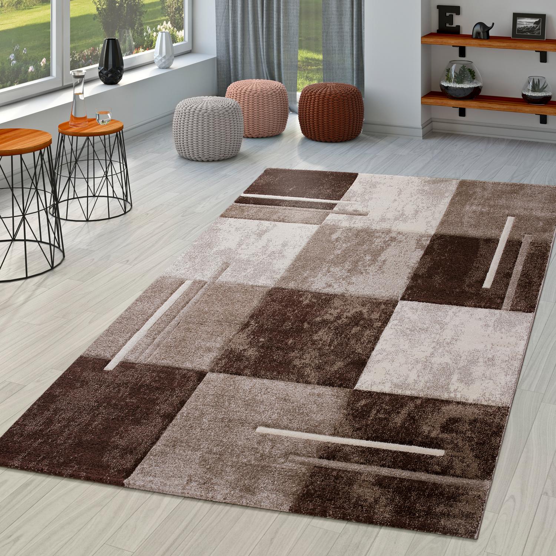 Moderner Teppich Wohnzimmer Milano Mit Konturenschnitt In Braun