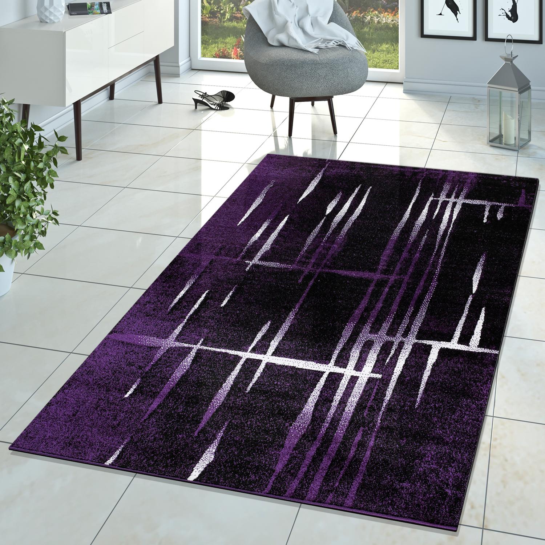 Wohnzimmer Teppich Matrix Design Lila Schwarz Creme