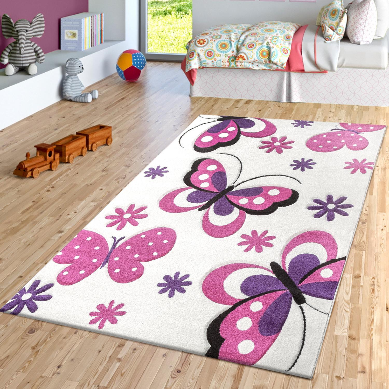 Details zu Schmetterling Teppich Creme Fuchsia Lila Kinderzimmer Teppiche  Butterfly Design