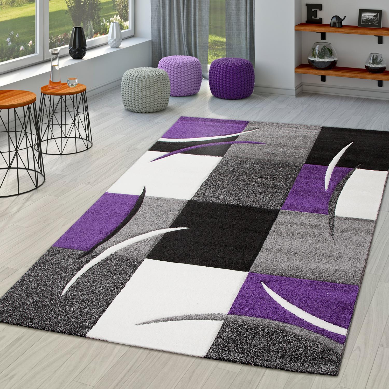 teppich wohnzimmer modern palermo mit konturenschnitt in lila grau creme schwarz moderne teppiche. Black Bedroom Furniture Sets. Home Design Ideas