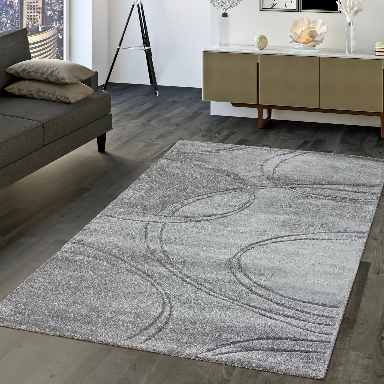 Details zu Moderner Teppich Wohnzimmer Kurzflor Teppich Konturenschnitt In  Uni Grau