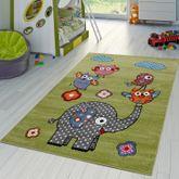 Kinderteppiche Spielende Zoo Tiere Eulen Elefanten Kurzflor Grün Grau Fuchsia  – Bild 1