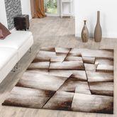 Teppich Beige Braun Wohnzimmer Teppiche Madeira Karo Konturenschnitt AUSVERKAUF – Bild 1