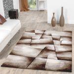 Teppich Beige Braun Wohnzimmer Teppiche Madeira Karo Konturenschnitt AUSVERKAUF