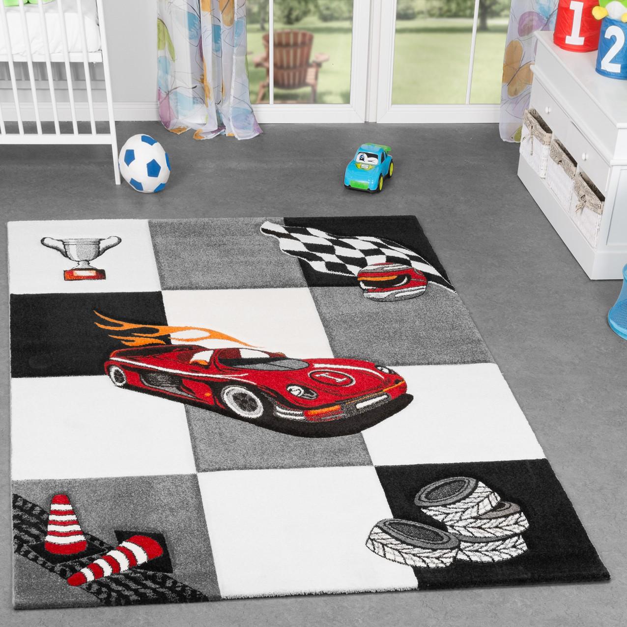 kinderzimmer teppich karo f r jungen auto model finish. Black Bedroom Furniture Sets. Home Design Ideas