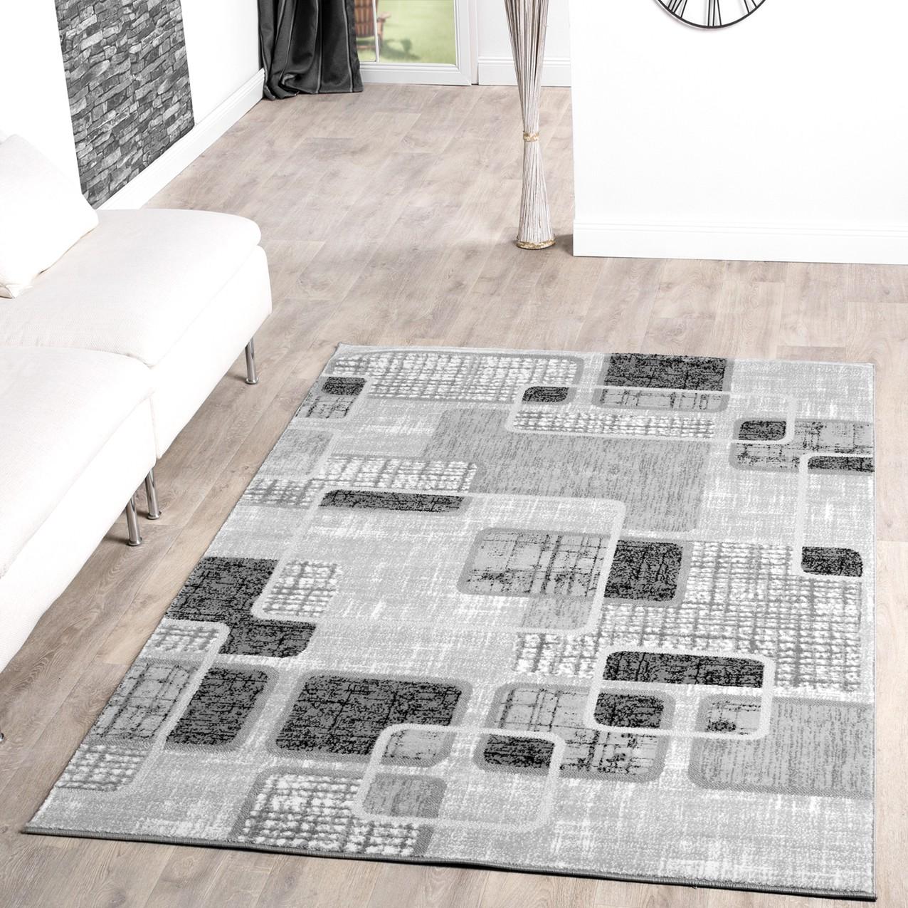 teppich g nstig retro design modern wohnzimmerteppich grau schwarz creme meliert moderne teppiche. Black Bedroom Furniture Sets. Home Design Ideas