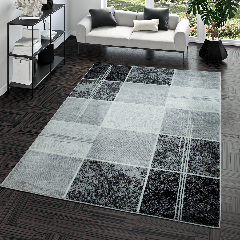 Wohnzimmerteppich Modern Preiswert Karo Design Grau Schwarz