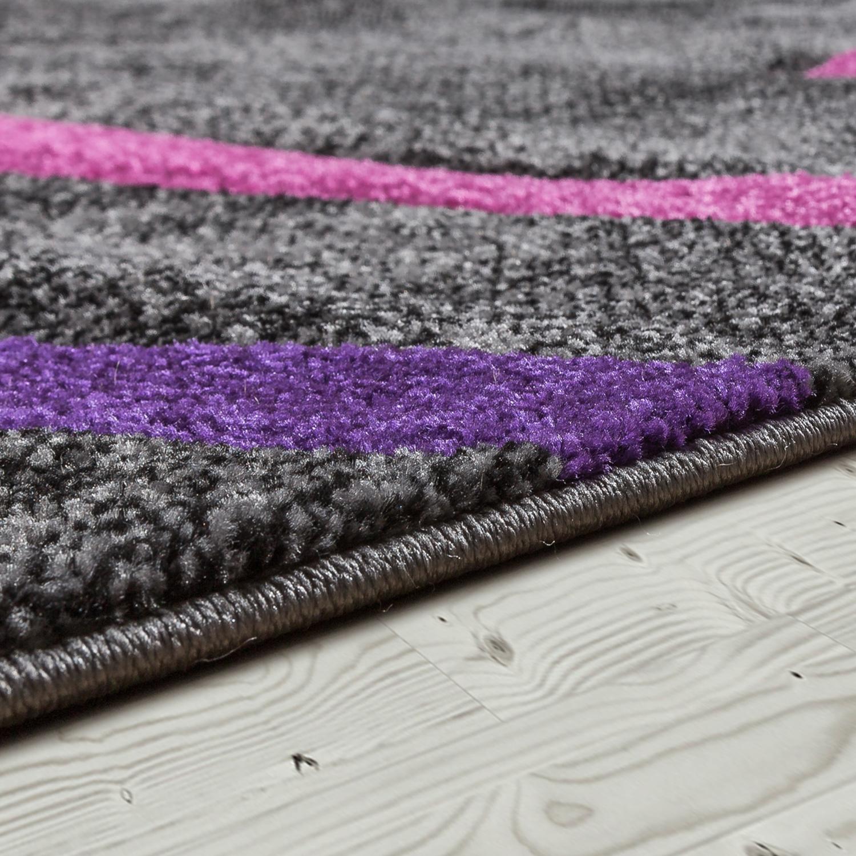 kurzflor wohnzimmer teppich modern ebro mit spiralen muster in grau lila creme moderne teppiche. Black Bedroom Furniture Sets. Home Design Ideas