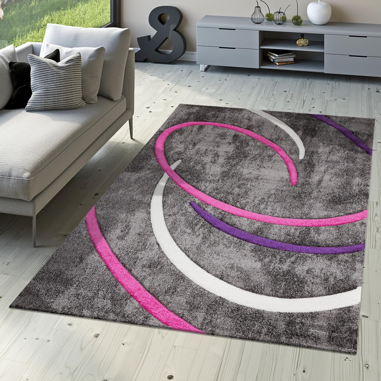Kurzflor Wohnzimmer Teppich Modern Ebro mit Spiralen Muster in Grau ...