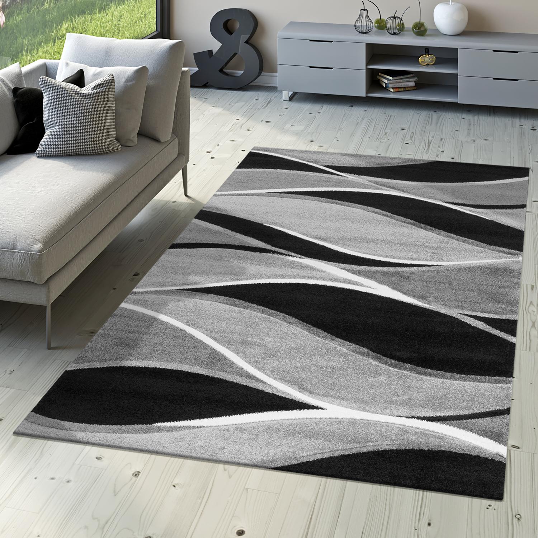 Teppich Toledo Mit Grau Töne In Schwarz Weiß