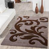 Designer Wohnzimmerteppich Levante Modern mit Floral Muster Beige Braun – Bild 1