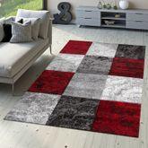 Designer Teppich Valencia Modern mit Marmor Optik Kariert Meliert Rot Grau Weiß – Bild 1