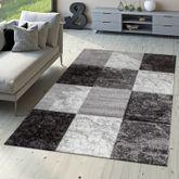 Designer Teppich Valencia Modern Marmor Optik Kariert Meliert Grau Weiß Schwarz – Bild 1