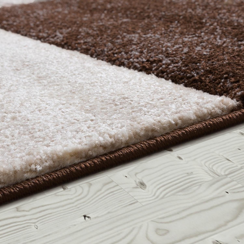 designer teppich valencia modern marmor optik kariert meliert braun beige creme moderne teppiche. Black Bedroom Furniture Sets. Home Design Ideas