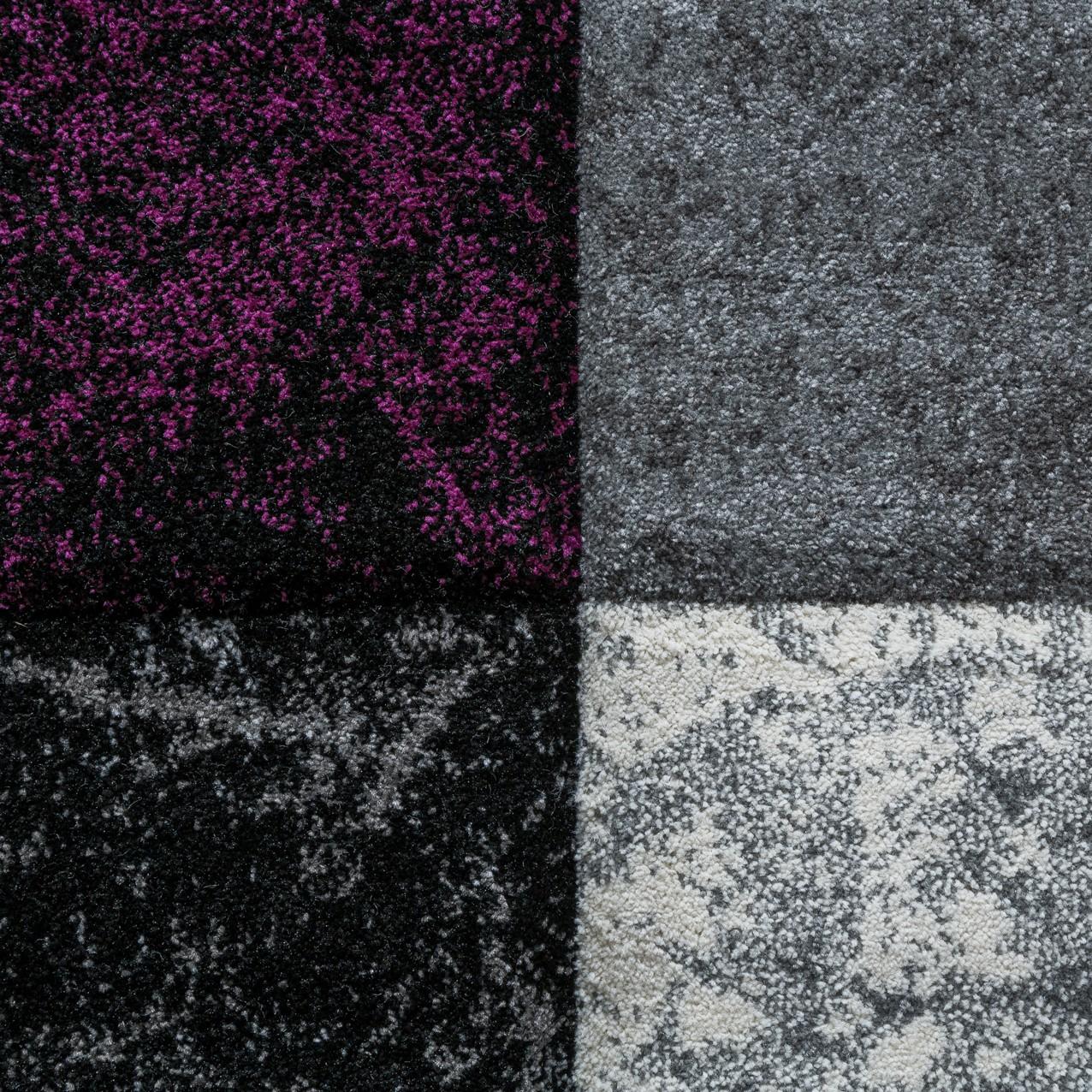 designer teppich valencia modern mit marmor optik kariert meliert lila grau wei moderne teppiche. Black Bedroom Furniture Sets. Home Design Ideas