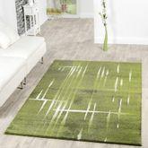 Moderner Wohnzimmer Teppich Matrix Design Kurzflor Meliert Grün Grau Creme – Bild 1