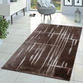 Moderner Wohnzimmer Teppich Matrix Design Kurzflor Meliert Braun Beige Creme – Bild 1