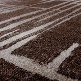 Moderner Wohnzimmer Teppich Matrix Design Kurzflor Meliert Braun Beige Creme – Bild 2