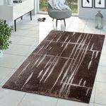 Moderner Wohnzimmer Teppich Matrix Design Kurzflor Meliert Braun Beige Creme