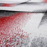 Designer Teppich Wohnzimmer Modern Kurzflorteppich Meliert Rot Grau Creme  – Bild 2