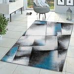 Designer Teppich Wohnzimmer Modern Kurzflor Teppich Meliert Türkis Creme Grau