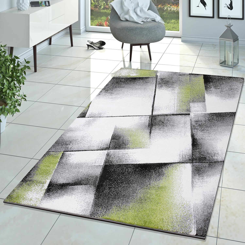 Designer Kurzflor Teppich Meliert Grün Creme Grau