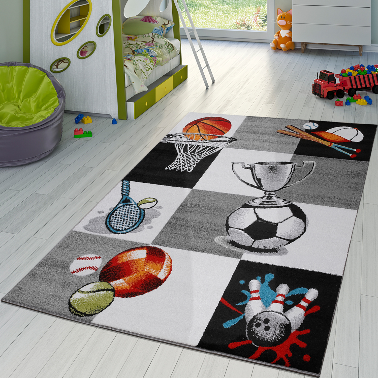 kinder teppich sportwelt fu ball pokal tennis kinderzimmer teppich grau creme kinderteppich. Black Bedroom Furniture Sets. Home Design Ideas