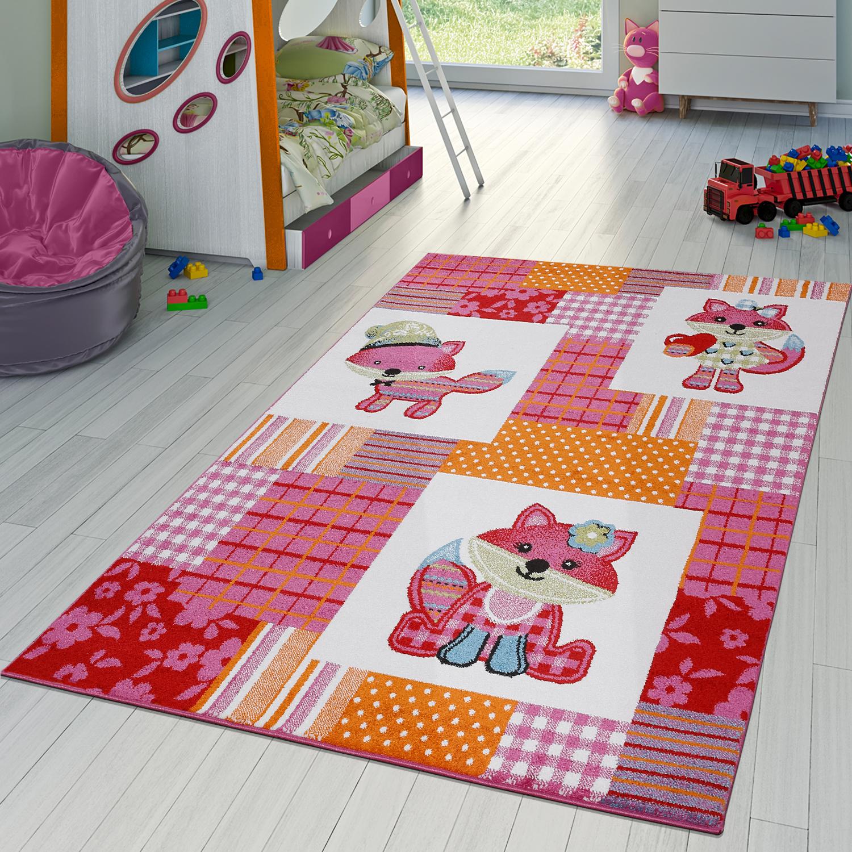 kinderzimmer teppich s e f chse kurzflor teppich in karo in pink creme orange kinderteppich. Black Bedroom Furniture Sets. Home Design Ideas