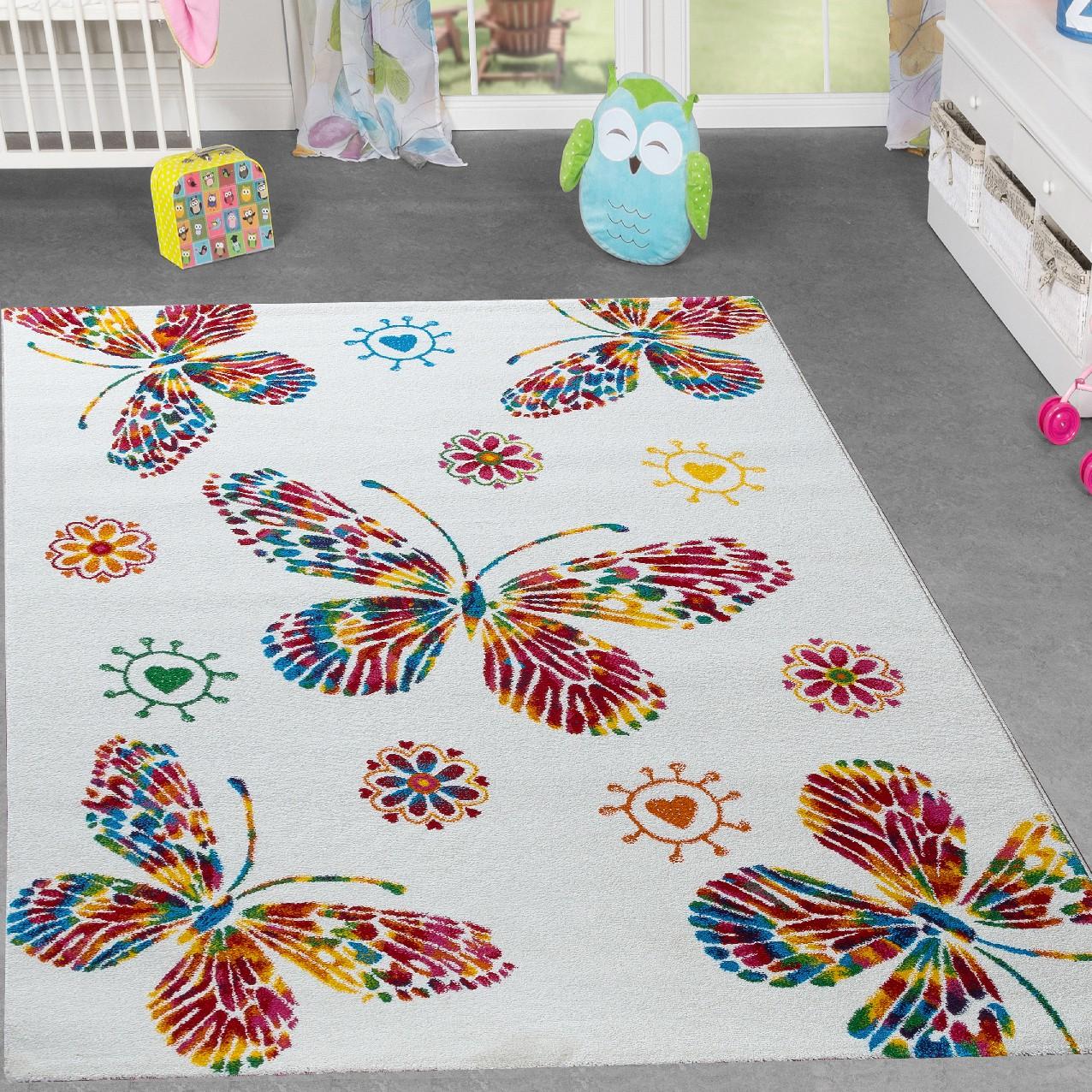 kinderteppich schmetterling design kinderzimmer spielzimmer multicolour in creme moderne teppiche. Black Bedroom Furniture Sets. Home Design Ideas